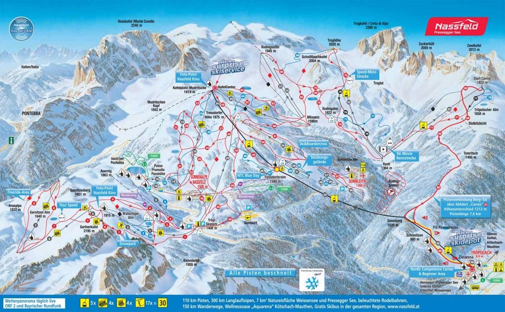 Statiunea Nassfeld harta schi