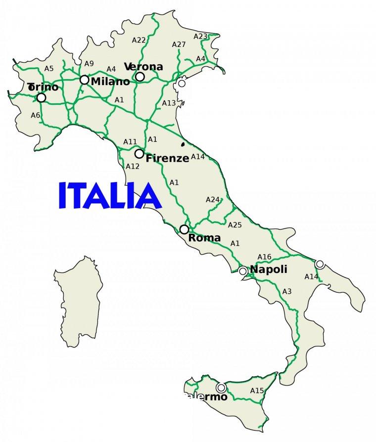 Reteaua de autostrazi din Italia.