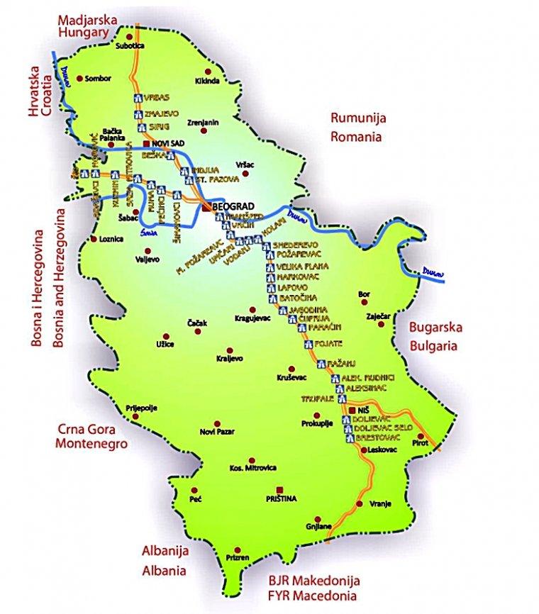 Harta staţiilor de taxare de pe autostrăzile din Serbia.